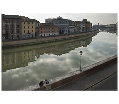 _PXK9769bwtm (Concert Photography and more) Tags: 2018 winter italy tuscany pisa arno river reflection people cloud city town buildings riverbanks pentax pentaxk1 liveactionhero pentax2470mmf28