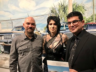 Artist Tim Buwalda with his wife Charity and LnS Gallery Co-owner Sergio Cernuda at Tim's opening.