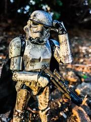 Wait, let me adjust my helmet. (Brick Operator) Tags: stormtrooper starwars action figure empire hasbro blackseries black series soldier mimban trooper mud earth sunset toy figurine