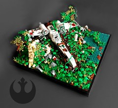 Star Wars - Crashed X-Wing Fighter on Yavin IV (KevFett2011) Tags: kevfett2011 star wars xwing starfighter yavin iv episode a new hope landscape crashed temple ruin water surface death 2018 moc creation own story plants leaves parts trees rebels empire tie