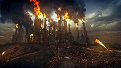 Mad Max (screenreel) Tags: madmax gaming pc graphics screenshot camera angle videogame engine desert evening factory gas fuel fire tube building construction apocalypse postapocalypse clouds sky blue orange heat road car trash junk abandoned metal wood smoke
