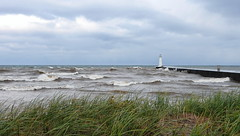 Sodus Point pier and Outer Light vs. gale (Cathy Contant) Tags: soduspoint lakeontario waynecony lake greatlakes lighthouse beach storm gale wind waves