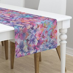 Large BALLET FLOWERS ONLY RAINBOW watercolor table runner by FloweryHat (FLOWERYHAT DESIGNS) Tags: floweryhat spoonflower roostery fabrics fabric flowers flowery floral pink blue multicolor mockup spring summer seamless sewing stiching happy garden watercolor painted pastel rainbow flora upholstery apparel joyful hydrangea cotton polyester pod printondemand print printed tablecloth tablerunner