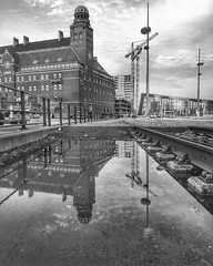 Reflection in the city 👉 Malmö Sweden (goranssonmagda) Tags: nature naturelover naturelovers landscape landscapelover landscapes landscaplovers dof rural rurallove country countryside winter wintertime sweden sverige malmö city street urban water reflection bw bnw blacknwhite blackandwhite