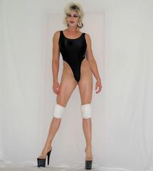 Drag Queen Legs (queen.catch) Tags: drag queen dragqueen bathing suit leotard heels shiny lycra thong high cut wig 80s makeup legsfordays kneepads pantyhose nylons sissy femboy crossdresser catchqueen
