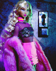 pump it up (alexbabs1) Tags: integrity toys nu face nuface doll dolls colette duranger supernova super nova model supermodel it fashion royalty fr blonde counter culture hot pink fur glam blond payphone pay phone city club night out sexy lights green neon sequins mini skirt charms jewelry style spotted snapped sarah palins bangs