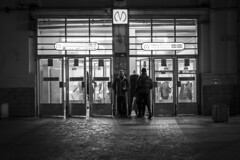 The supplicant of handout at the entrance to the subway (vazek2007) Tags: streetphotography street metro subway evening saintpetersburg alms blackandwhitephotography blackwhite bnw bnwphoto monocrome ricoh ricohgr gr2