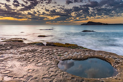 Sunrise Seascape with Clouds (Merrillie) Tags: daybreak sunrise cumulus earlymorning nature dawn reflections coast water morning sea newsouthwales rocks pearlbeach nsw rocky waterscape ocean rockpool landscape waves coastal clouds outdoors seascape australia centralcoast sky seaside