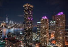 From New Jersey (karinavera) Tags: city longexposure night photography cityscape urban ilcea7m2 sunset architecture wallstreet exceptional up newyork manhattan view newjersey
