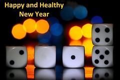 Happy and Healthy 2019 (HansHolt) Tags: 2019 newyear happy healthy dice mirror light yellow blue reflection tabletop bokeh macro canoneos6d canonef100mmf28macrousm