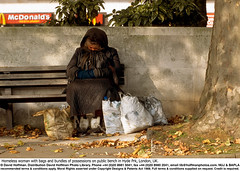 Homeless Woman 2 (hoffman) Tags: autumn bag bench boots bundle depressed depression deprivation female hat homelessness horizontal lady mcdonalds miserable misery nfa obscured outdoors park poverty sad seat sitting street tree woman 181112patchingsetforimagerights davidhoffman wwwhoffmanphotoscom london uk