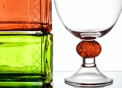 A Study in Glass (Karen_Chappell) Tags: glass bottle bottles red white green stilllife goblet glassware three 3 colourful colours colour color curve shape