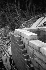 local construction (Albie Chambers) Tags: film 35mm industry industrial bw black white greyscale factory brick metal corrugated old historical building construction