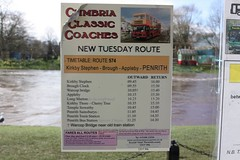 Route 574 and the river Eden (Chris Baines) Tags: appleby bus shelter timetable for cumbria classic coaches route 574 river eden