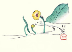 Water-lily (Japanese Flower and Bird Art) Tags: flower waterlily nuphar japonicum nymphaeaceae hogyoku yamada ukiyo woodblock picture book japan japanese art readercollection