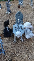 DSC01398 (shallowgrave@sbcglobal.net) Tags: halloween skeleton teaparty skull tombstone cemetery grave candle