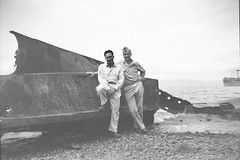 Frank Knapp (right) and unidentified U.S. Soldier (Knapp Family History Photos) Tags: wwii wreckage milne bay new guinea knapp
