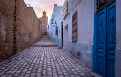 Towards the Kasbah (pietkagab) Tags: sousse kasbah castle street medina oldtown paved line city town wall walls door blue evening sunset tower building buildings architecture white sky tunisia north northern africa sahel arab arabic pietkagab photography pentax pentaxk5ii piotrgaborek travel trip tourism sightseeing adventure
