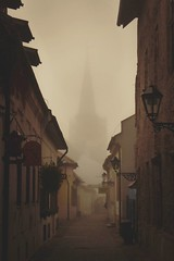 city in fog (Slávka K) Tags: street city slovakia fog morning building architecture sky atmosphere lantern lamp fasade