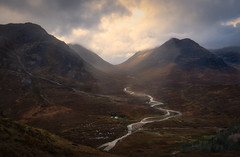 Glencoe valley (dickiebirdie68) Tags: scotland glencoe mountains mountain highlands valley rocks landscape light sunlit sky lake house nikon d850 clouds dramatic awesome nature wonder