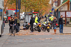Incident (Geoff Henson) Tags: london street lambeth incident police people pavement road traffic cyclist pedestrians tree motorcycle bicycle bus