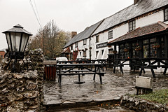 The White Bear (Geoff Henson) Tags: pub old inn restaurant building tables benches lamp wet cold autumn