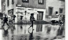 Pisa (der Olaf) Tags: sw blackandwhite toskana italien rain spiegelung pisa regen street