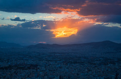 Volcano? (music_man800) Tags: blue hour dusk evening golden light lighting sunset sun set late afternoon pretty beautiful clouds cloud weather orange rays flare excellent lumination magic magical athens greece capital city holiday vacation view skyline cityscape scape scenery scene landscape urban buildings rooftops mountains sky colours colourful canon 700d adobe lightroom creative edit photography arty artistic september 2018 windy