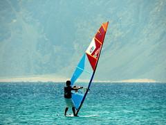 At My Hand (Khaled M. K. HEGAZY) Tags: nikon coolpix p520 gulfofaqaba dahab tiranadahabresort egypt nature outdoor closeup sea water beach seaside sail man windsurfing mountain red blue white orange black