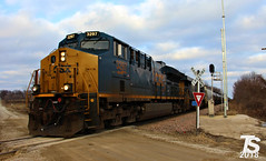 2/2 CSX 3297 Leads WB L571 Manifest near Austinville, IA 12-23-18 (KansasScanner) Tags: iowafalls ackley iowa bradford train railroad csx cn up iarr