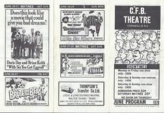 June 1970 - Movie Theatre Showtimes Program at CFB Cornwallis, Nova Scotia (front) (Treasures from the Past) Tags: cfbcornwallis cfbtheatre june1970 movies 1970 theatre novascotia canada