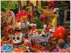 2018 Day of the Dead Altar I (prima seadiva) Tags: muertos stilllife table dayofthedead diodelosmuertos photographer skull altar stmichael