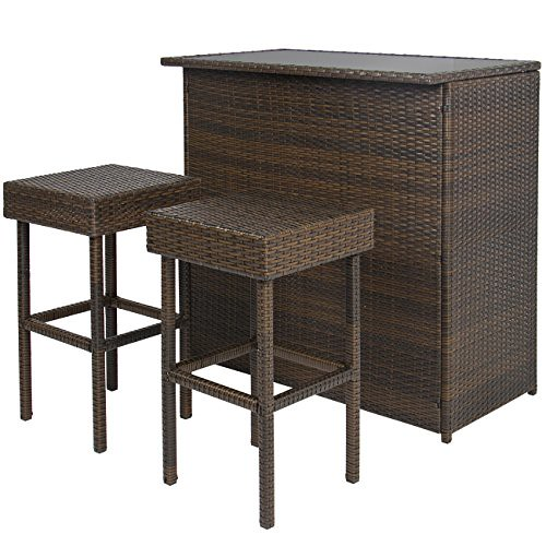 Cheap Best Choice Products 3PC Wicker Bar Set Patio Outdoor Backyard Table & 2 Stools Rattan Garden Furniture