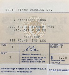 Middlesbrough v Mansfield Town 03.09.85 (ChrisUTB) Tags: middlesbrough mansfield town milk cup ticket