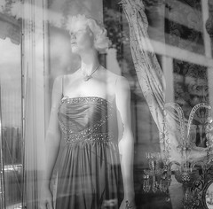 The Lovely Waverly (RansomedNBlood) Tags: wv westvirginia charleston film mediumformat mamiyac33 120film bw blackwhite mannequin halest straydogantiques reflection storefrontwindow