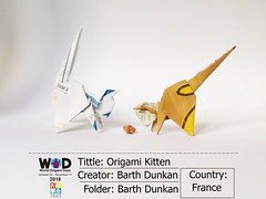 Origami Kitten - Barth Dunkan. (Magic Fingaz) Tags: barthdunkancatchatgatokittenorigamiorigamicatgatto kedi kočka kot kucing mačka paperfolding γάτα кіт мачка ネコ猫 wod worldorigamidays