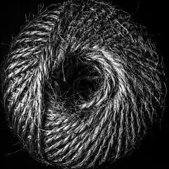 BW Ball of String. HMM! (Uup115) Tags: macromondays centersquarebw macro hmm cameraphone ballofstring string blackandwhite bw square centercomposition