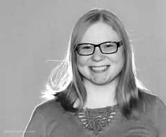 Ashley (Petoskey Drones) Tags: woman portrait bw backlight smile