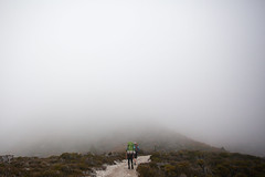 Marions Lookout in fog, Overland Track