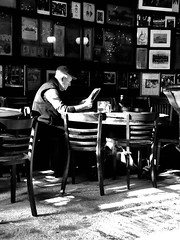 Man in Bar (neilgolub) Tags: mcsorleys ale house bw bar