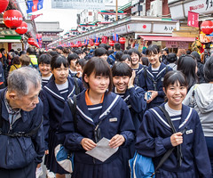 Happy Faces, Asakusa, Tokyo (Ray in Manila) Tags: asakusa japan tokyo asia eos650d historic street temple touristy schoolchildren kids uniform girls man happy face happyplanet asiafavorites