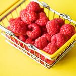 Fresh raspberries in a mini basket thumbnail