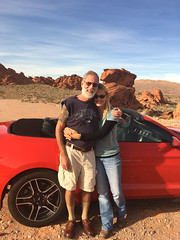 Chris Knudsen & Annie Robison at Valley of Fire NV 1 (olydragon) Tags: chris christian knudsen annie robison valley fire nevada las vegas red car mustang convertible