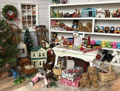 Santa's workshop (Foxy Belle) Tags: doll christmas 16 scale santas workshop toy north pole toys miniature dollhouse barbie diorama holiday scene room wrapping gifts tiny vintage handmade teddy bears flocked