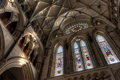 South Transept of York Minster (Derwisz) Tags: englishgothic minster yorkminster architecture buildings cathedral church gothic lowpov lowangleofview medieval sacral sacred stainedglass york northyorkshire unitedkingdom rosewindow england southtransept transept