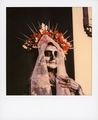 Muertos Maiden 4 (tobysx70) Tags: polaroid originals color sx70 instant film sx70sonar sonar maiden dia de los muertos celebration hollywood forever cemetery santa monica blvd boulevard angeles la california ca woman lady portrait skull makeup flower crown headdress veil skeleton costume bokeh route rte rt 66 toby hancock photography