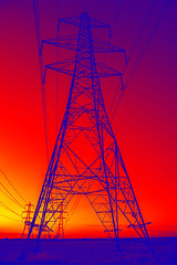 Sunset Pylons - Altered Reality (fstop186) Tags: sunset pylons electricity week4652alteredreality red gold orange blue sky graphic abstract surreal alteredreality fantasy scifi industrial wasteland apocalypse