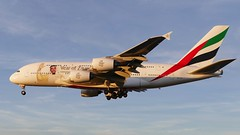 Airbus A380 800 Emirates A6-EUA Year of Zayed livery approaching LHR London Heathrow Airport 2018 (roli_b) Tags: airbus a380 800 a380800 emirates airlines airways a6eua lhr london heathrow airport aeroport approaching landing blue sky sun sunset aircraft airplane jet flugzeug flieger avion aereo aviacao 2018