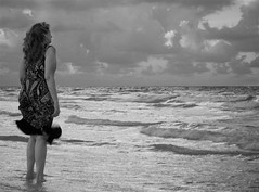 Lost at Sea (Sarah Sonny) Tags: blackandwhite bw ocean sea woman staring beach seashore miami sad