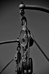 Strung up. (Explored) (Steve.T.) Tags: blackandwhite bnw rope pulley blockandtackle nikon d7200 mono boat maldon essex davits blockandpulley
